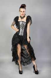 Elvira long victorian goth skirt in black king and black lace underlay