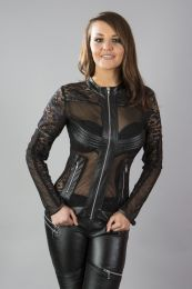 Estelle punk rock jacket in black stretch fishnet with black matte trim. Zip fastening.