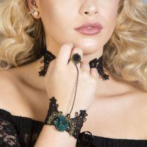 Eva green Black lace Gothic bracelet with ring