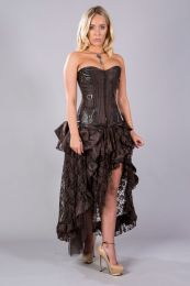 Evangeline high waisted skirt in brown king brocade and brown lace