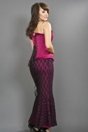 Fishtail mermaid skirt in fuchsia cotton and black lace overlay
