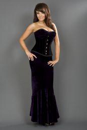 Fishtail long mermaid skirt in purple velvet