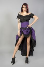 Amanda underbust steel boned corset in purple taffeta with black lace details.
