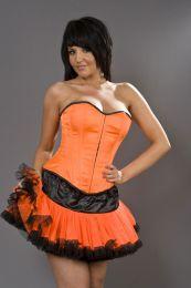 Flower clubwear mini skirt in neon orange and black mesh