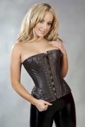 Forcas overbust steampunk corset in brown matte and spikes