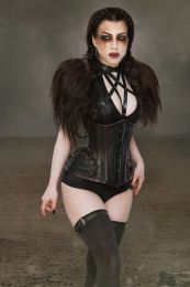 Forcas underbust steampunk corset in black and brown matte vinyl