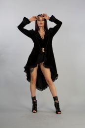 Frederica buttons fastening coat in black velvet flock. Gorgeous lace frill edge finishing and satin with lace overlay shoulders details. Perfect for romantic goth nights out.