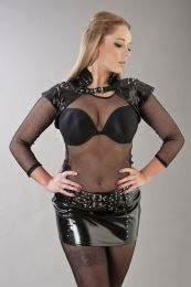 Geisha gothic bolero shrug in black PVC and silver spikes
