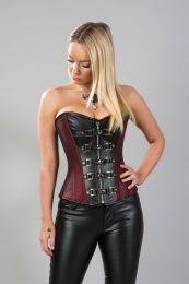 Gemini overbust steampunk corset in burgundy taffeta