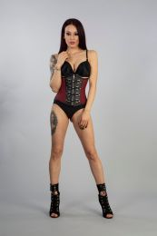 Gemini underbust steampunk corset in burgundy taffeta with black matte vinyl . Silver zip fastening, laces and modesty panel at rear.