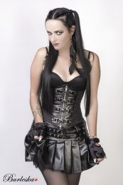 Gemini underbust steampunk corset in black taffeta with front zip and straps