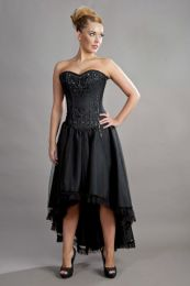 Geneva hi-low prom corset dress in black taffeta and black mesh overlay