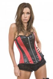 Glamour overbust corset in black and red satin panels