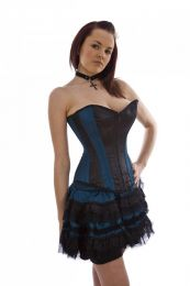 Glamour overbust corset in black and turquoise satin panels