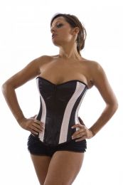 Glamour overbust corset with zip in black satin and pink panels