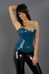 Glamour overbust corset with front zip in turquoise PVC