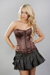 Glamour overbust fashion corset in brown faux snakeskin satin