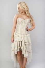 Glamour overbust fashion corset in gold satin and cream lace overlay