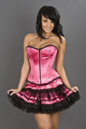 Glamour overbust fashion corset in neon pink satin