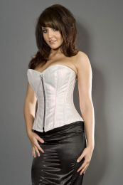 Glamour overbust fashion corset in pink sparkle