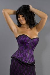 Glamour overbust fashion corset in purple satin and black lace overlay