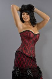 Glamour overbust fashion corset in red satin and black lace overlay