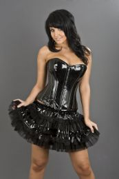 Glamour overbust lace up corset in black PVC
