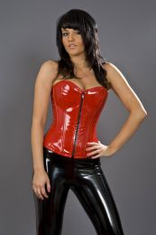 Glamour overbust lace up corset in red PVC