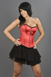 Glamour overbust lace up corset in red satin
