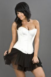 Glamour overbust lace up corset in white satin
