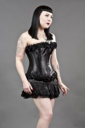 Glamour overbust zip up corset in black satin and black rose
