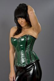 Glamour overbust zip up corset in green and black PVC