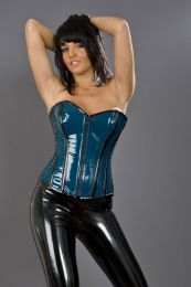 Glamour overbust zip up corset in turquoise and black PVC