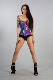 Glamour overbust lace up corset in  rainbow snakeskin PVC. A corset with front zip fastening, laces and modesty panel at rear. Perfect for night out and fesival season!
