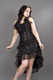 Gothic knee length skirt in black satin and black lace overlay