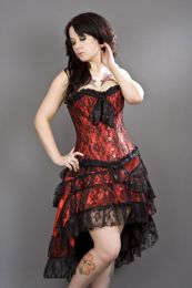 Gothic knee length skirt in red satin and black lace overlay