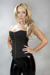 Griselda overbust corset in black twill with brass spikes