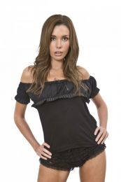 Gypsy black cotton top with pinstripe frill
