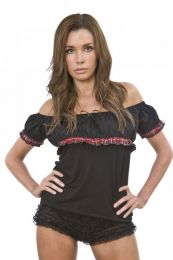 Gypsy black cotton gothic top with red tartan frill