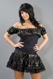 Gypsy gothic top in black cotton and black PVC