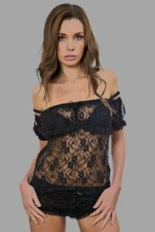 Gypsy black victorian vintage stretch lace top