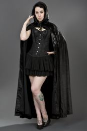 Halloween costume black velvet cape with hood