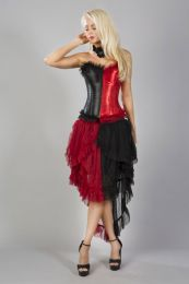 Harlequin overbust fashion corset in black and red satin