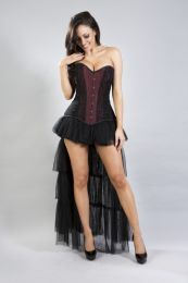 helena overbust long line corset in cream taffeta with black lace