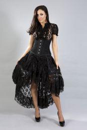 helena steel boned underbust corset in black taffeta