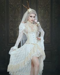 Elizium steel boned underbust corset in cream taffeta
