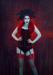 Elegant overbust steel boned corset in black velvet