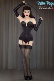 Pinup underbust steel boned waist training corset in black taffeta by Bettie Page