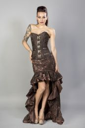 Helena skirt in black satin black lace overlay