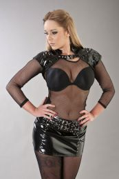 Hestia punk rock mini skirt with buckles in black PVC